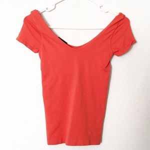 Bebe Orange Fitted Top Petite Small